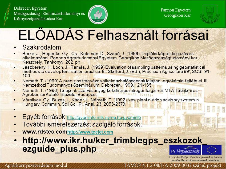 ELŐADÁS Felhasznált forrásai Szakirodalom: Berke, J., Hegedűs, Gy., Cs., Kelemen, D., Szabó, J. (1996): Digitális képfeldolgozás és alkalmazásai. Pann