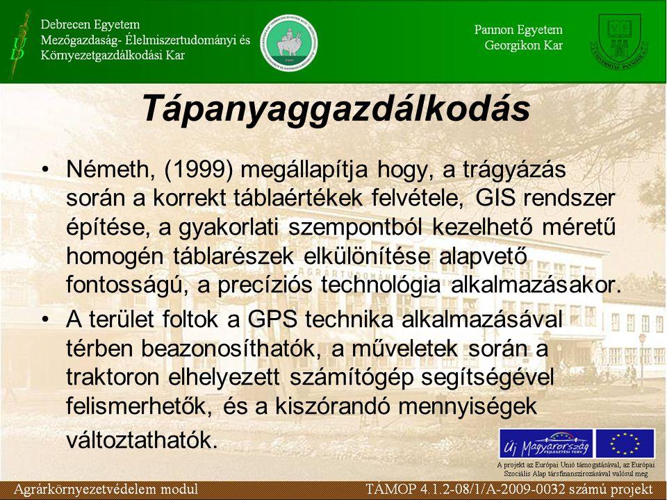Tápanyaggazdálkodás Németh, (1999) megállapítja hogy, a trágyázás során a korrekt táblaértékek felvétele, GIS rendszer építése, a gyakorlati szempontb
