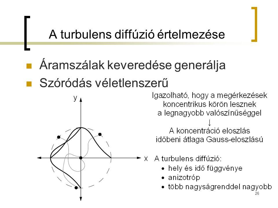 A turbulens diffúzió értelmezése Áramszálak keveredése generálja Szóródás véletlenszerű 26