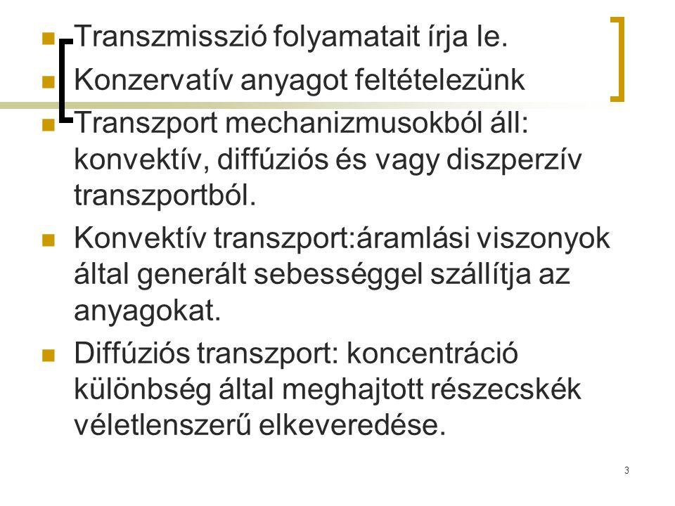 Transzmisszió folyamatait írja le. Konzervatív anyagot feltételezünk Transzport mechanizmusokból áll: konvektív, diffúziós és vagy diszperzív transzpo