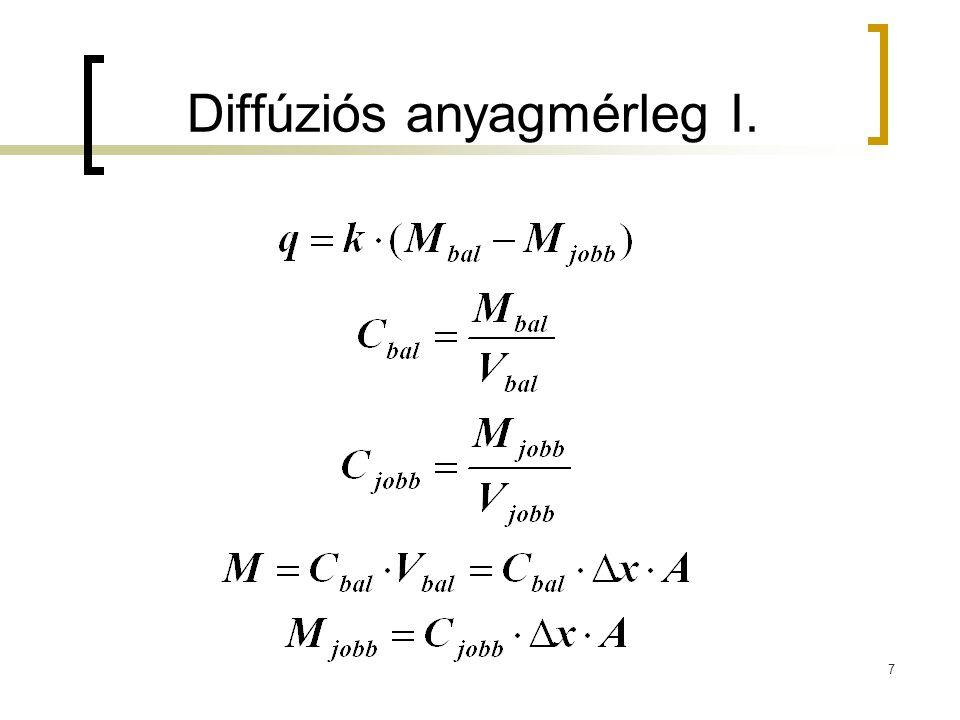 Diffúziós anyagmérleg I. 7