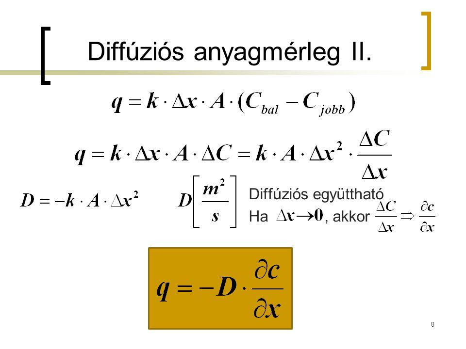 Diffúziós anyagmérleg II. 8 Diffúziós együttható Ha, akkor