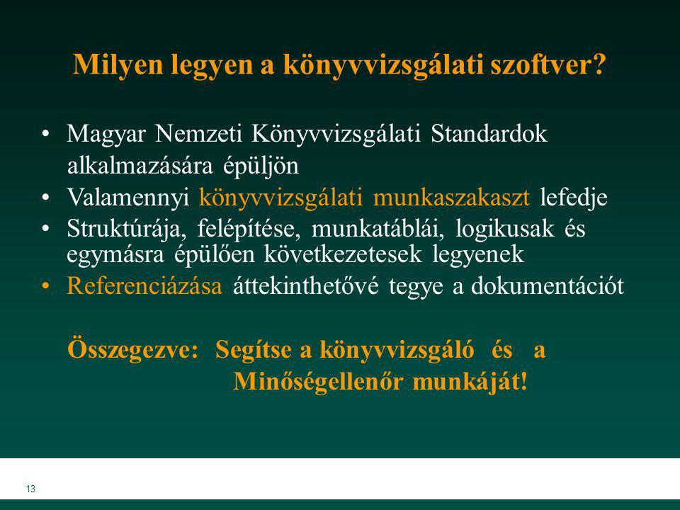 13 Milyen legyen a könyvvizsgálati szoftver? Magyar Nemzeti Könyvvizsgálati Standardok alkalmazására épüljön Valamennyi könyvvizsgálati munkaszakaszt