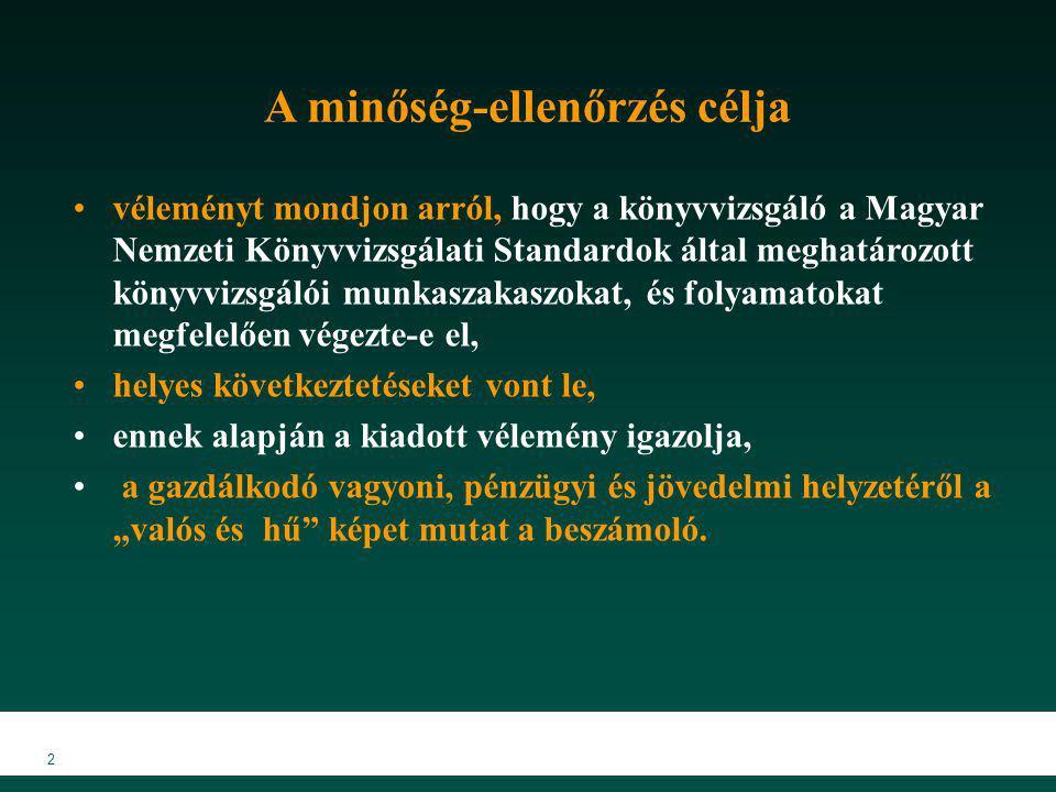 2 A minőség-ellenőrzés célja véleményt mondjon arról, hogy a könyvvizsgáló a Magyar Nemzeti Könyvvizsgálati Standardok által meghatározott könyvvizsgá