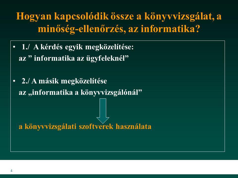 """4 Hogyan kapcsolódik össze a könyvvizsgálat, a minőség-ellenőrzés, az informatika? 1./ A kérdés egyik megközelítése: az """" informatika az ügyfeleknél"""""""