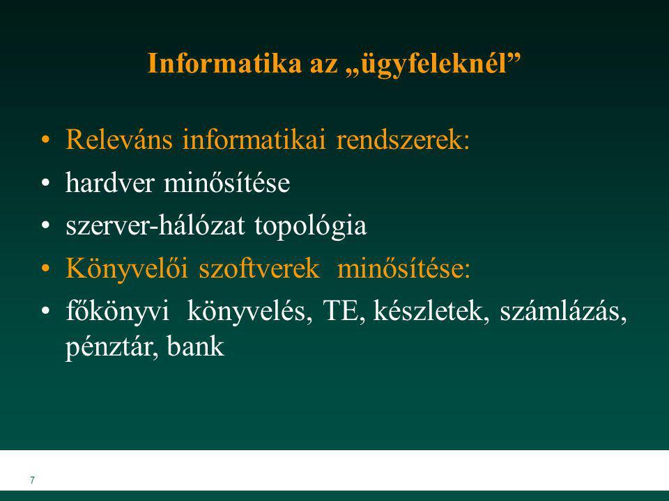"""7 Informatika az """"ügyfeleknél"""" Releváns informatikai rendszerek: hardver minősítése szerver-hálózat topológia Könyvelői szoftverek minősítése: főkönyv"""