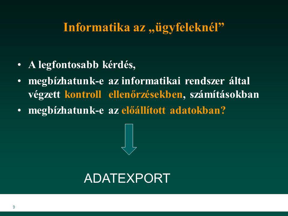 """9 Informatika az """"ügyfeleknél"""" A legfontosabb kérdés, megbízhatunk-e az informatikai rendszer által végzett kontroll ellenőrzésekben, számításokban me"""