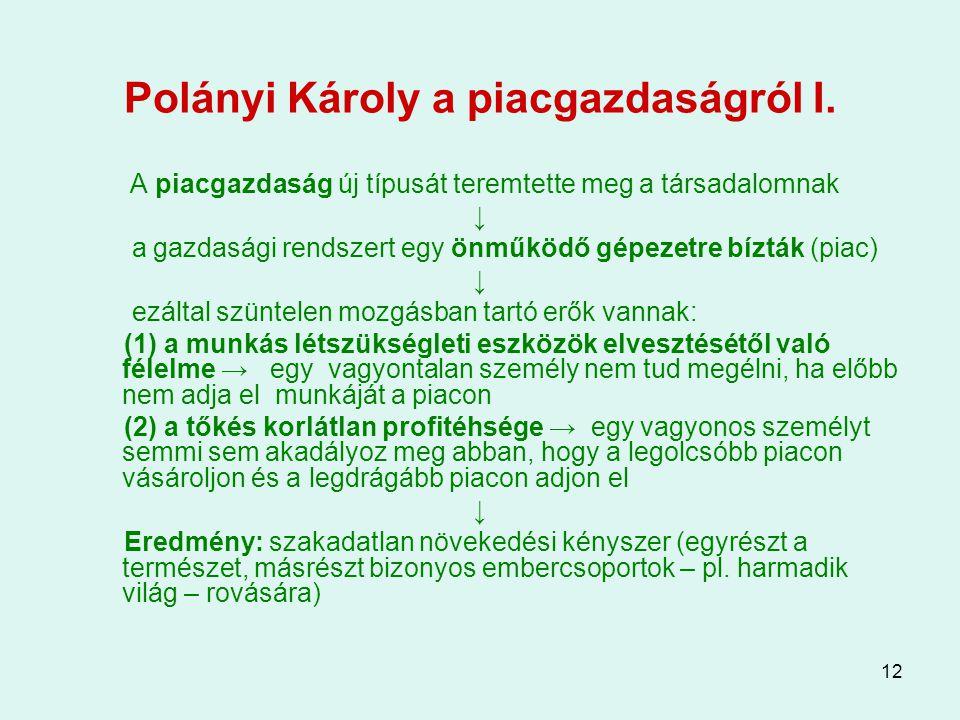 12 Polányi Károly a piacgazdaságról I. A piacgazdaság új típusát teremtette meg a társadalomnak ↓ a gazdasági rendszert egy önműködő gépezetre bízták