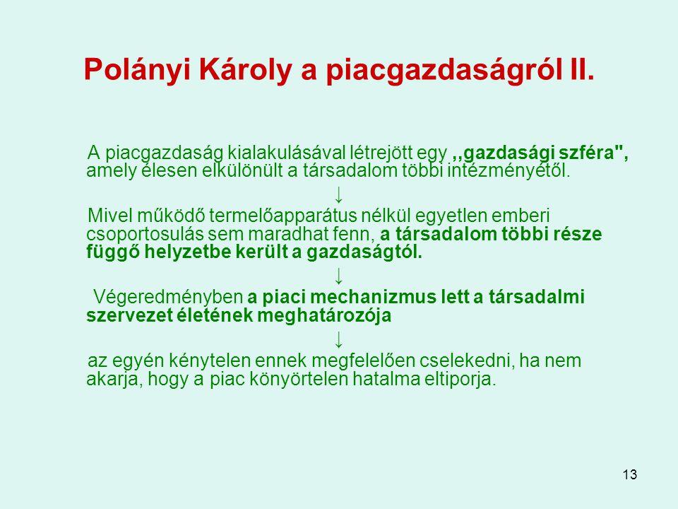 13 Polányi Károly a piacgazdaságról II. A piacgazdaság kialakulásával létrejött egy,,gazdasági szféra