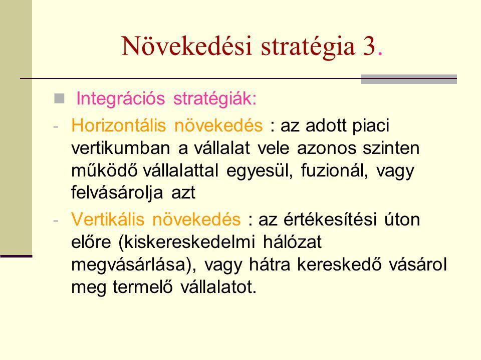Növekedési stratégia 3. Integrációs stratégiák: - Horizontális növekedés : az adott piaci vertikumban a vállalat vele azonos szinten működő vállalatta