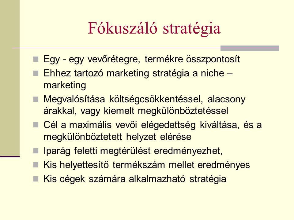 Fókuszáló stratégia Egy - egy vevőrétegre, termékre összpontosít Ehhez tartozó marketing stratégia a niche – marketing Megvalósítása költségcsökkentés