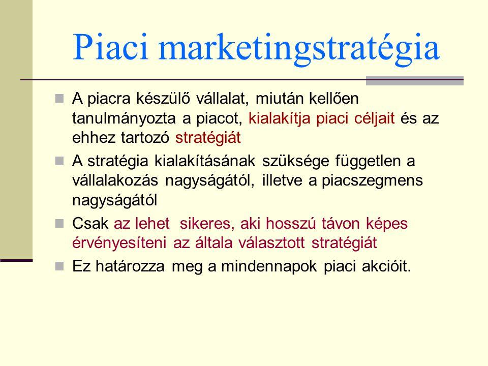 Piaci marketingstratégia A piacra készülő vállalat, miután kellően tanulmányozta a piacot, kialakítja piaci céljait és az ehhez tartozó stratégiát A s