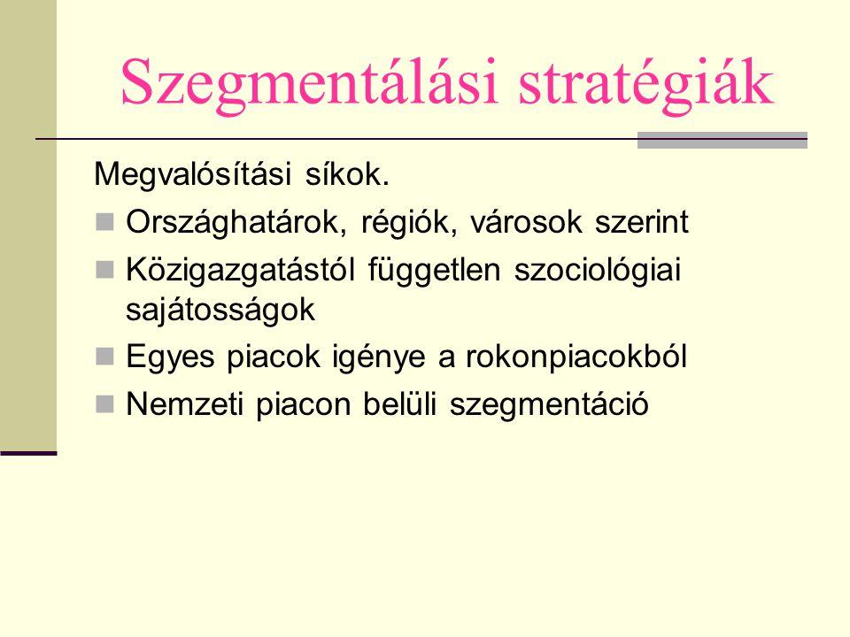 Szegmentálási stratégiák Megvalósítási síkok. Országhatárok, régiók, városok szerint Közigazgatástól független szociológiai sajátosságok Egyes piacok