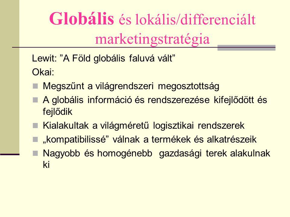 """Globális és lokális/differenciált marketingstratégia Lewit: """"A Föld globális faluvá vált"""" Okai: Megszűnt a világrendszeri megosztottság A globális inf"""