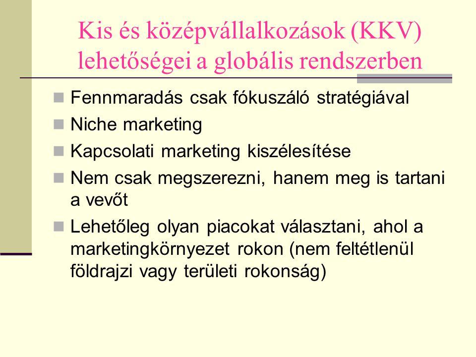 Kis és középvállalkozások (KKV) lehetőségei a globális rendszerben Fennmaradás csak fókuszáló stratégiával Niche marketing Kapcsolati marketing kiszél