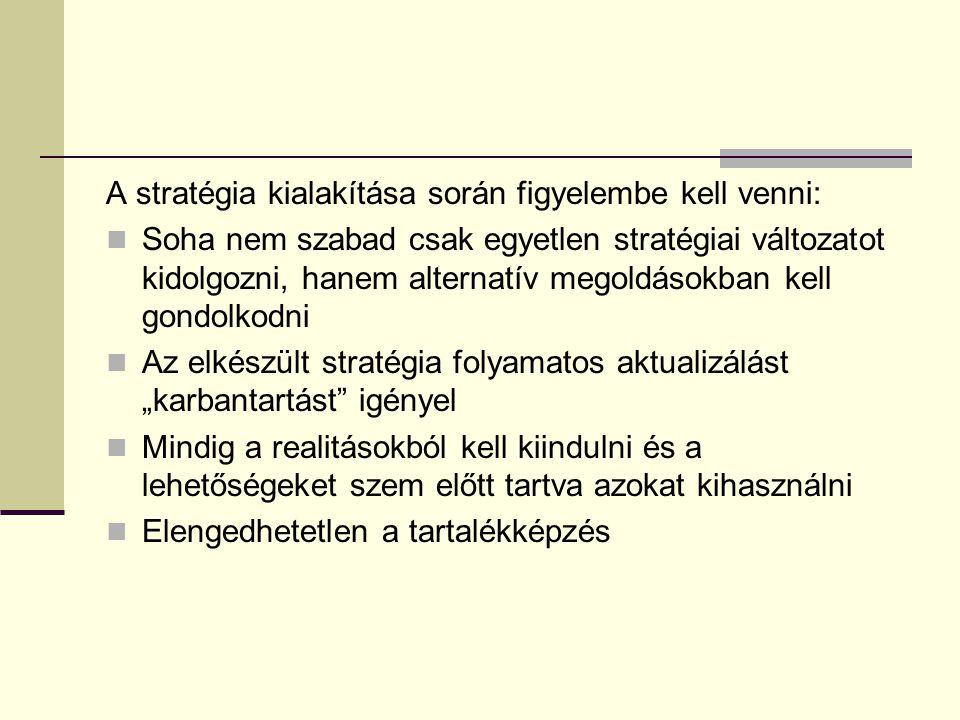A stratégia kialakítása során figyelembe kell venni: Soha nem szabad csak egyetlen stratégiai változatot kidolgozni, hanem alternatív megoldásokban ke