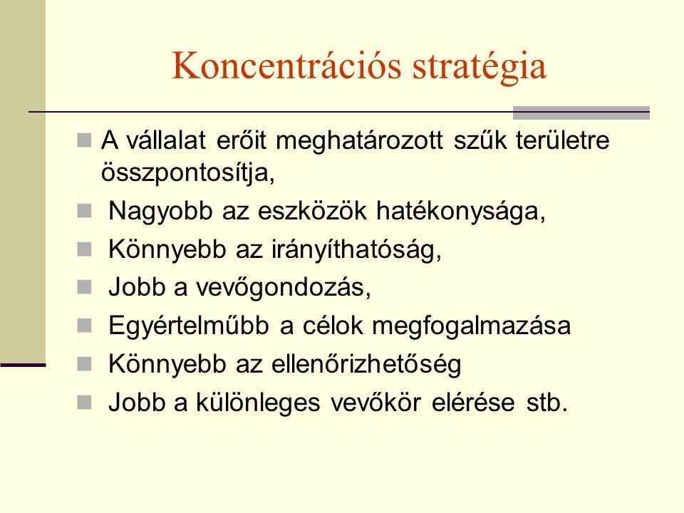 Koncentrációs stratégia A vállalat erőit meghatározott szűk területre összpontosítja, Nagyobb az eszközök hatékonysága, Könnyebb az irányíthatóság, Jo