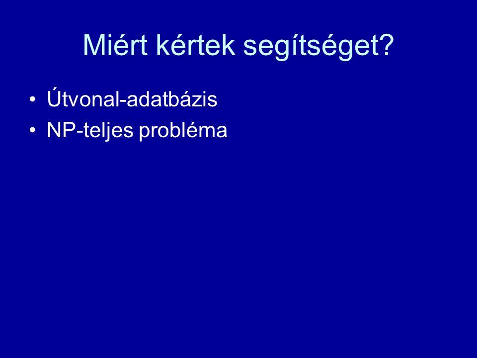 Miért kértek segítséget Útvonal-adatbázis NP-teljes probléma