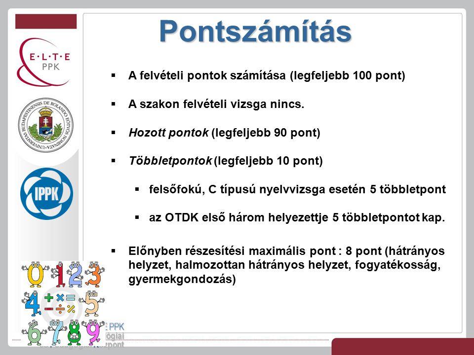 Pontszámítás ELTE PPK Interkulturális Pszichológiai és Pedagógiai Központ  A felvételi pontok számítása (legfeljebb 100 pont)  A szakon felvételi vi