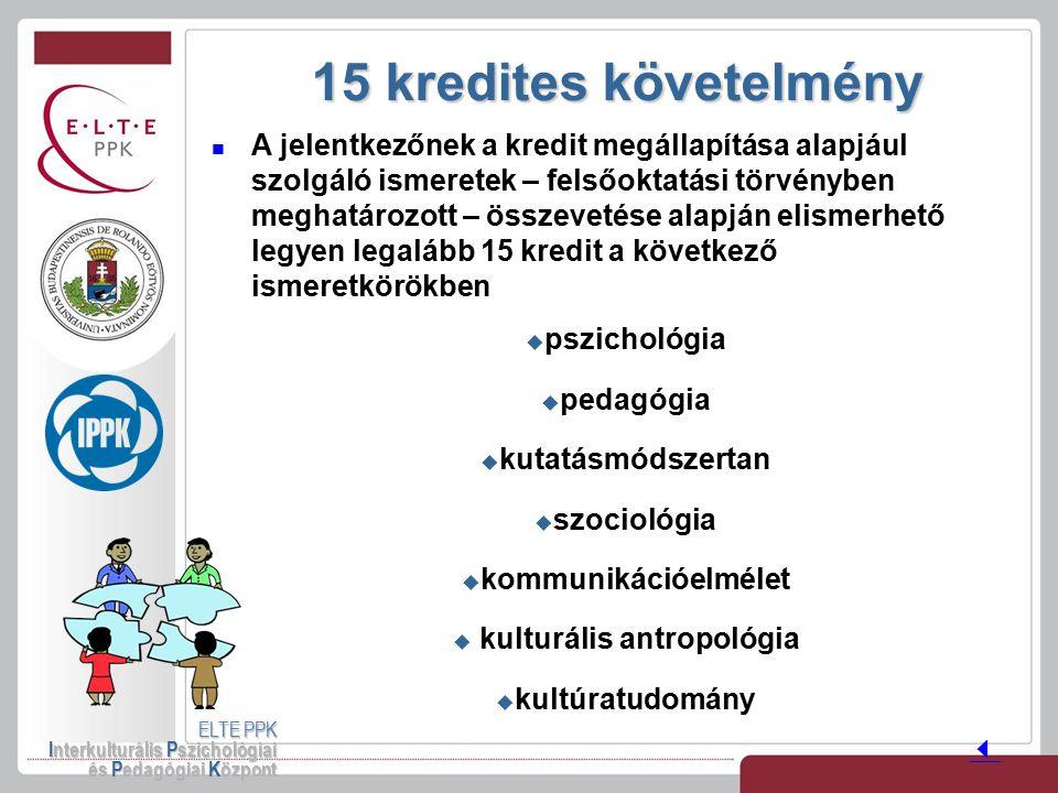 15 kredites követelmény ELTE PPK Interkulturális Pszichológiai és Pedagógiai Központ A jelentkezőnek a kredit megállapítása alapjául szolgáló ismerete