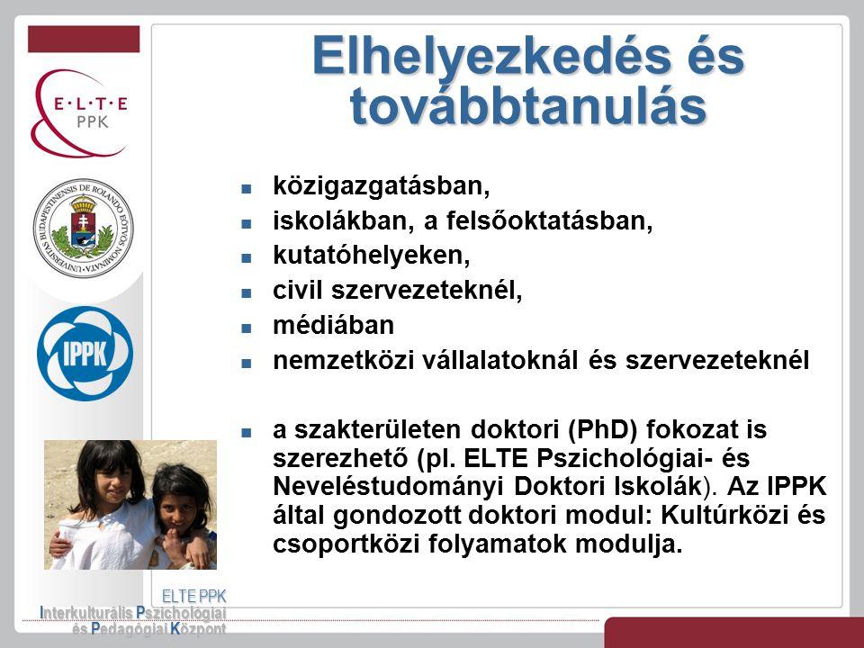 Elhelyezkedés és továbbtanulás ELTE PPK Interkulturális Pszichológiai és Pedagógiai Központ közigazgatásban, iskolákban, a felsőoktatásban, kutatóhely