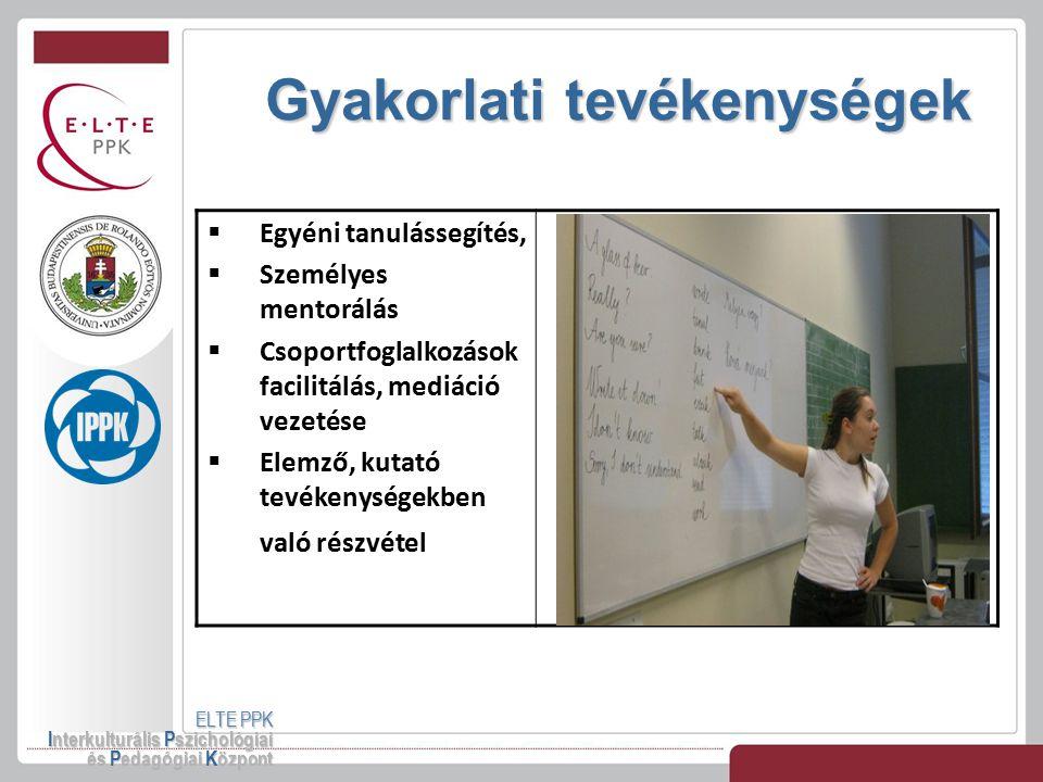 Gyakorlati tevékenységek ELTE PPK Interkulturális Pszichológiai és Pedagógiai Központ  Egyéni tanulássegítés,  Személyes mentorálás  Csoportfoglalk
