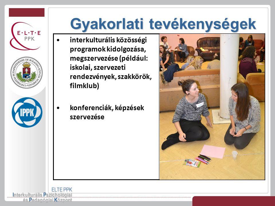 Gyakorlati tevékenységek ELTE PPK Interkulturális Pszichológiai és Pedagógiai Központ interkulturális közösségi programok kidolgozása, megszervezése (
