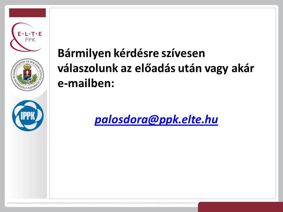 Bármilyen kérdésre szívesen válaszolunk az előadás után vagy akár e-mailben: palosdora@ppk.elte.hu