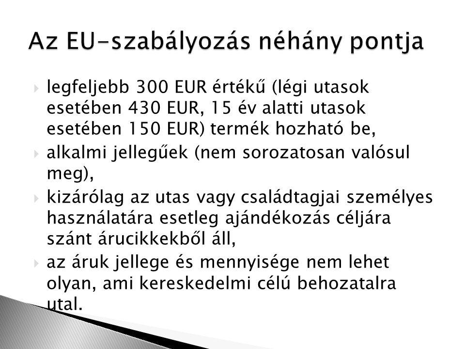  legfeljebb 300 EUR értékű (légi utasok esetében 430 EUR, 15 év alatti utasok esetében 150 EUR) termék hozható be,  alkalmi jellegűek (nem sorozatosan valósul meg),  kizárólag az utas vagy családtagjai személyes használatára esetleg ajándékozás céljára szánt árucikkekből áll,  az áruk jellege és mennyisége nem lehet olyan, ami kereskedelmi célú behozatalra utal.