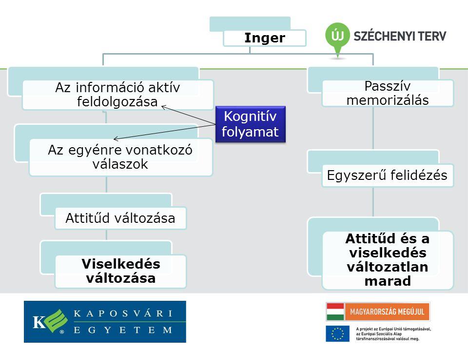 Inger Az információ aktív feldolgozása Az egyénre vonatkozó válaszok Attitűd változása Viselkedés változása Passzív memorizálás Egyszerű felidézés Attitűd és a viselkedés változatlan marad Kognitív folyamat