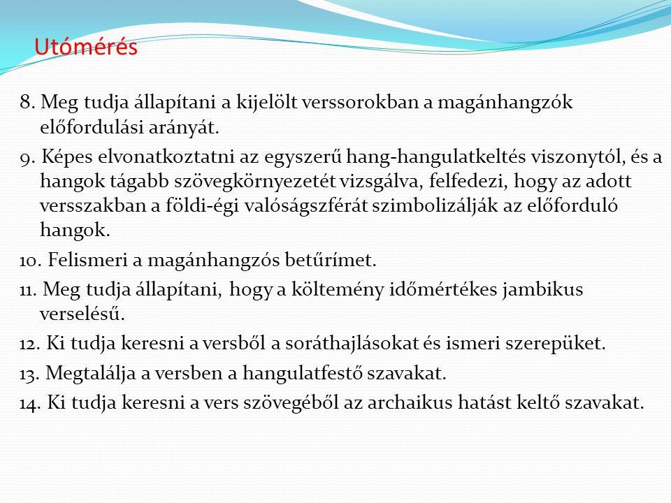 Utómérés 8. Meg tudja állapítani a kijelölt verssorokban a magánhangzók előfordulási arányát. 9. Képes elvonatkoztatni az egyszerű hang-hangulatkeltés