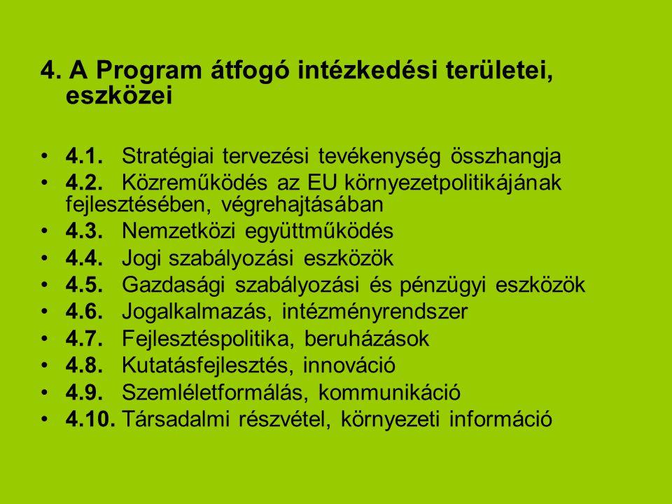 4.A Program átfogó intézkedési területei, eszközei 4.1.