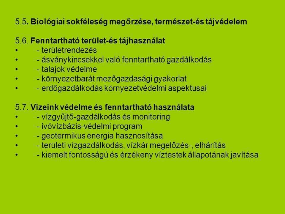 5.5.Biológiai sokféleség megőrzése, természet-és tájvédelem 5.6.
