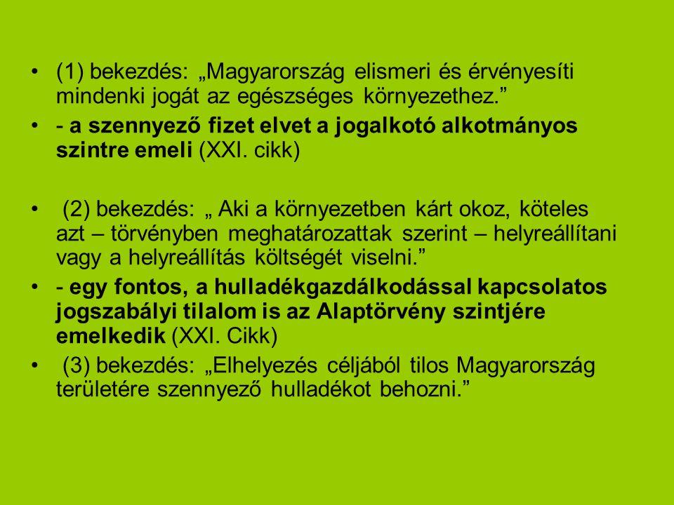 """(1) bekezdés: """"Magyarország elismeri és érvényesíti mindenki jogát az egészséges környezethez. - a szennyező fizet elvet a jogalkotó alkotmányos szintre emeli (XXI."""