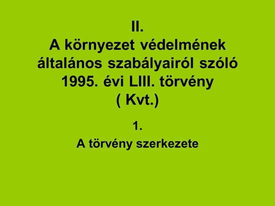 II.A környezet védelmének általános szabályairól szóló 1995.