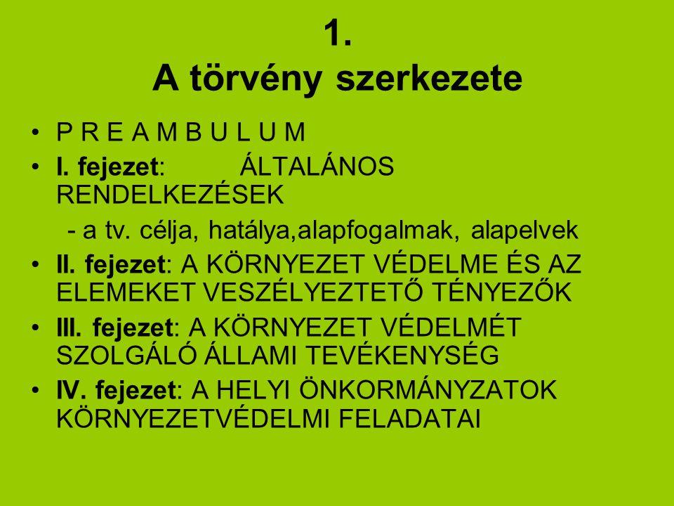1.A törvény szerkezete P R E A M B U L U M I. fejezet: ÁLTALÁNOS RENDELKEZÉSEK - a tv.