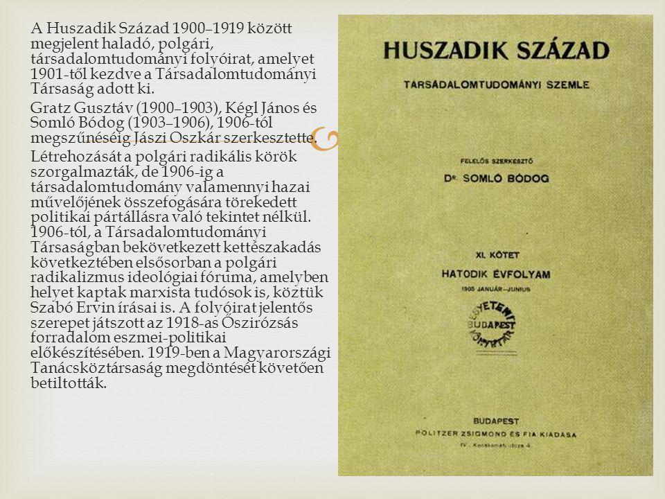  A Huszadik Század 1900–1919 között megjelent haladó, polgári, társadalomtudományi folyóirat, amelyet 1901-től kezdve a Társadalomtudományi Társaság adott ki.