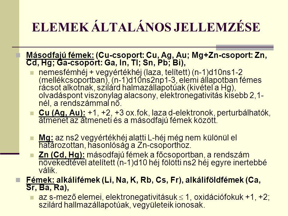 ELEMEK ÁLTALÁNOS JELLEMZÉSE Másodfajú fémek: (Cu-csoport: Cu, Ag, Au; Mg+Zn-csoport: Zn, Cd, Hg; Ga-csoport: Ga, In, Tl; Sn, Pb; Bi), nemesfémhéj + ve