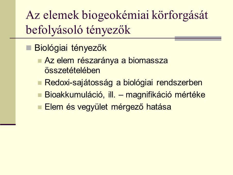 Az elemek biogeokémiai körforgását befolyásoló tényezők Biológiai tényezők Az elem részaránya a biomassza összetételében Redoxi-sajátosság a biológiai