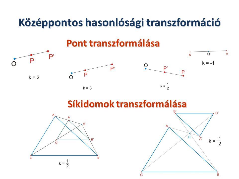 A középpontos hasonlóság tulajdonságai aránytartó, szögtartó, egyenestartó, párhuzamosságtartó, illeszkedés tartó, körüljárási irány tartó, nem távolságtartó (kivéve a |k|=1 esetet).