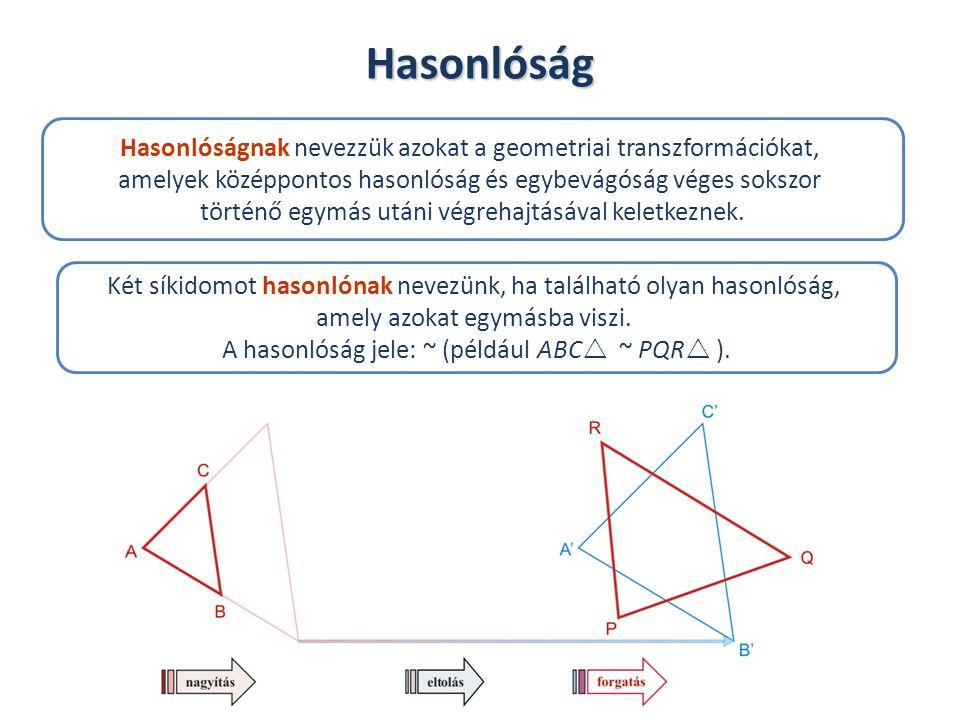 Az ábrán az ABC háromszöget P pontból nagyítottuk.