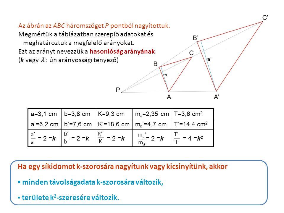 Az ábrán az ABC háromszöget P pontból nagyítottuk. Megmértük a táblázatban szereplő adatokat és meghatároztuk a megfelelő arányokat. Ezt az arányt nev