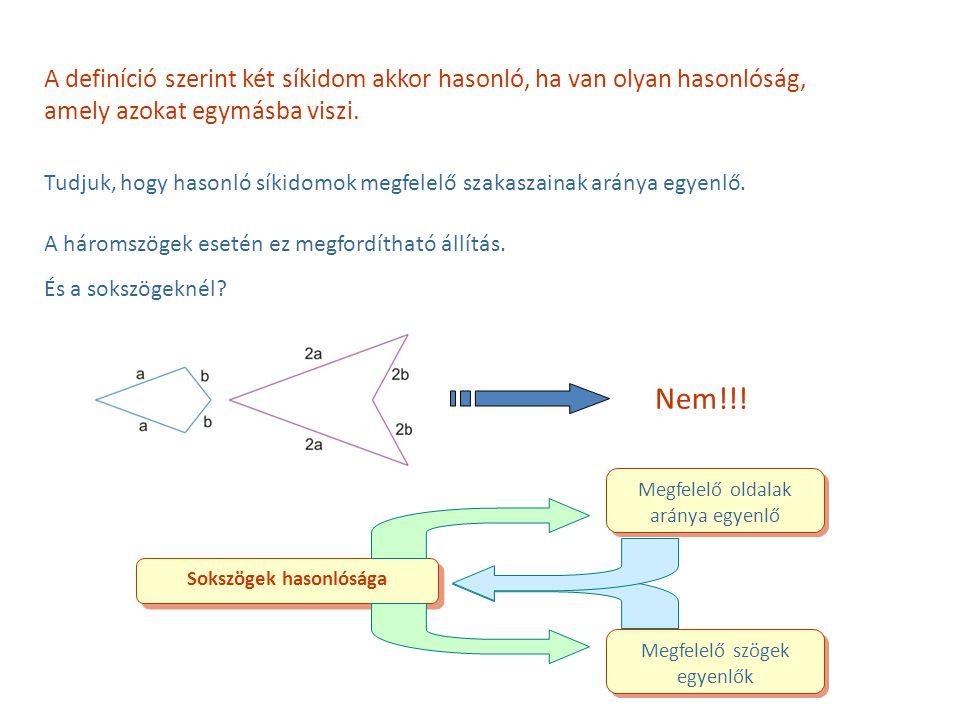 Tudjuk, hogy hasonló síkidomok megfelelő szakaszainak aránya egyenlő. A háromszögek esetén ez megfordítható állítás. És a sokszögeknél? A definíció sz