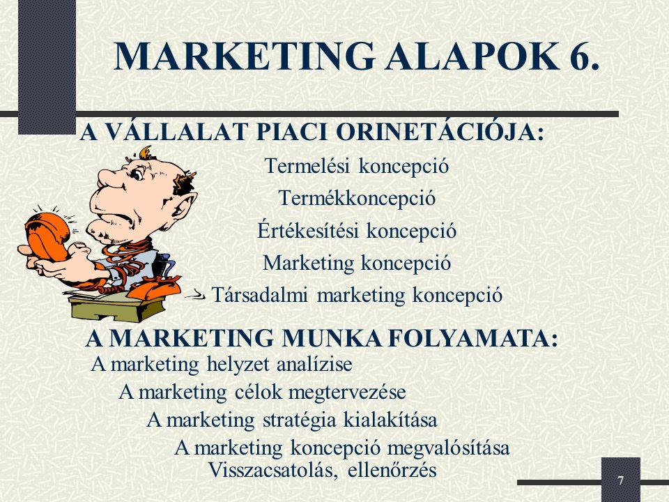 7 MARKETING ALAPOK 6. A VÁLLALAT PIACI ORINETÁCIÓJA: Termelési koncepció Termékkoncepció Értékesítési koncepció Marketing koncepció Társadalmi marketi