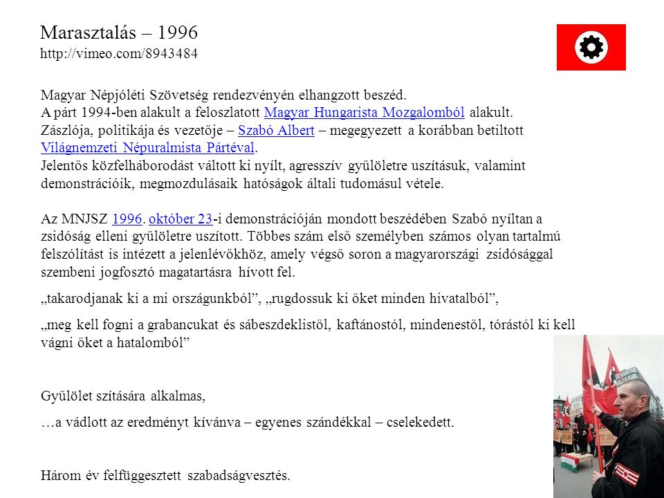 Marasztalás – 1996 http://vimeo.com/8943484 Magyar Népjóléti Szövetség rendezvényén elhangzott beszéd. A párt 1994-ben alakult a feloszlatott Magyar H
