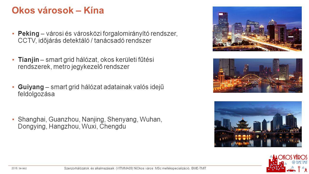 Okos városok – Kína ▪Peking – városi és városközi forgalomirányító rendszer, CCTV, időjárás detektáló / tanácsadó rendszer ▪Tianjin – smart grid hálóz