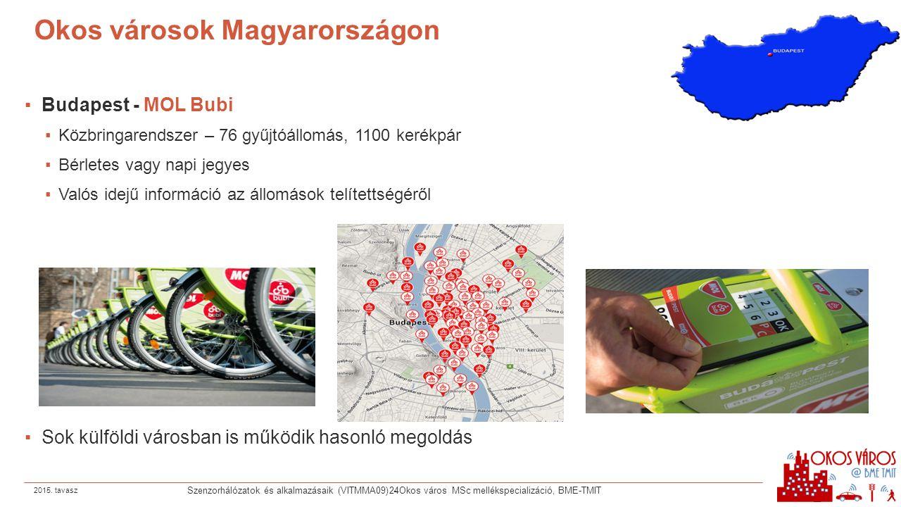 Okos városok Magyarországon ▪Budapest - MOL Bubi ▪Közbringarendszer – 76 gyűjtóállomás, 1100 kerékpár ▪Bérletes vagy napi jegyes ▪Valós idejű informác
