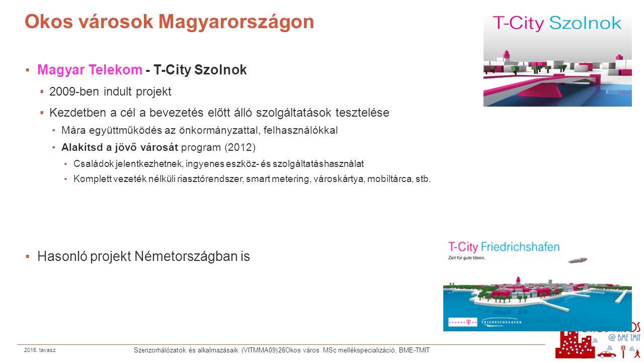 Okos városok Magyarországon ▪Magyar Telekom - T-City Szolnok ▪2009-ben indult projekt ▪Kezdetben a cél a bevezetés előtt álló szolgáltatások tesztelés