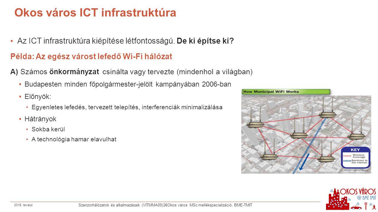 Okos város ICT infrastruktúra ▪Az ICT infrastruktúra kiépítése létfontosságú. De ki építse ki? Példa: Az egész várost lefedő Wi-Fi hálózat A) Számos ö