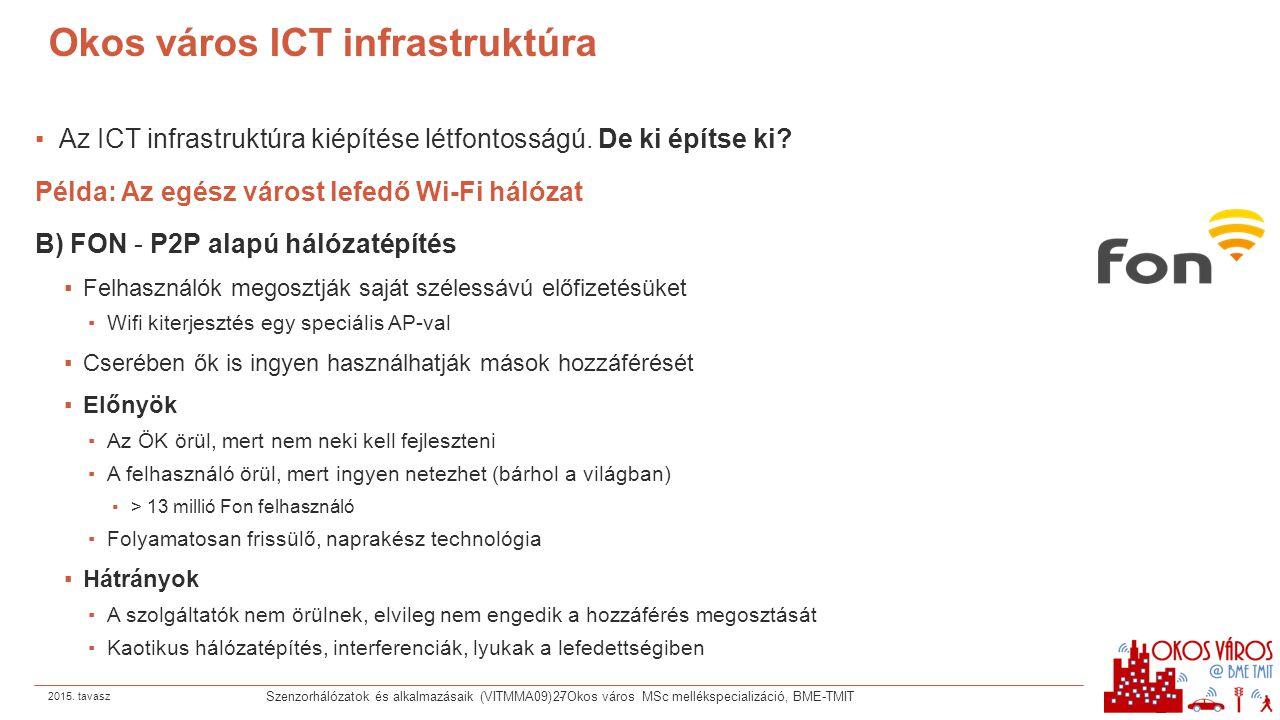 Okos város ICT infrastruktúra ▪Az ICT infrastruktúra kiépítése létfontosságú. De ki építse ki? Példa: Az egész várost lefedő Wi-Fi hálózat B) FON - P2
